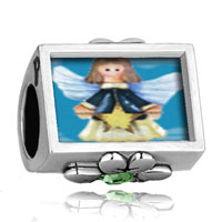 Charms Beads - december birthstone little girl angel blue zircon flower crystal Image.