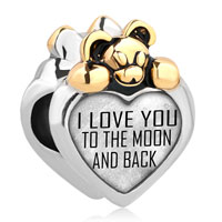 Lovely Bear I Love You To The Moon And Back Alloy Charms Bead Bracelet