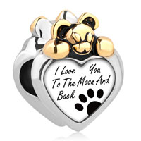 Lovely Bear Heart I Love You To The Moon Back Dog Paw Prints Alloy Charms Bead Bracelet
