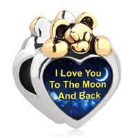 Lovely Bear Heart I Love You To The Moon Back Wonderland By Night Sky Charms Bead Bracelet