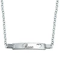 925 Sterling Silver Engraved Girl S Id Heart Custom Name Bracelet