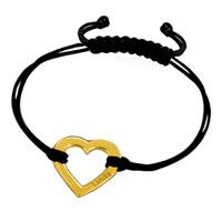 18 K Gold Sterling Silver Heart Love Leather Rope Engraved Bracelet