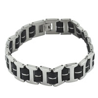 Mens Bracelet Double Rubber Chain Linked Mens Mens Stainless Steel Bracelets Cuff Bangle Bracelets