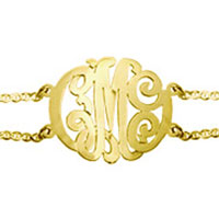 925 Sterling Silver Personalized Initial 3 Letters Golden Custom Made Double Chain Bracelet