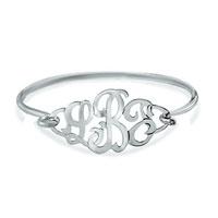 925 Sterling Silver Monogram Initial Custom Made Any Letter Bangle Bracelet