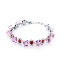Alternate October Birthstone Pink Crystal Square Round Light Siam Gift Bracelets
