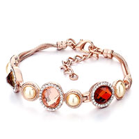 Alternate Oval Shell Indian Red Light Peach Swarovski Swarovski Crystal Pearl Bracelets