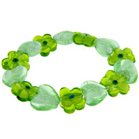 Green Hearts And Flowers Bracelets