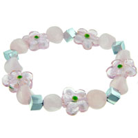 Pink Flowers Ideas Mother Beads Murano Glass Bracelet