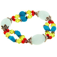 Handmade Multicolored Beaded Acrylic Murano Glass Bracelets