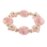 Handmade Pink Flower Ideas Mother Beads Murano Glass Bracelet