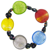 Murano Glass Heart Millefiori Multi Color Bracelet