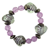 Heart Pink Gift Mother Beads Murano Glass Bracelet