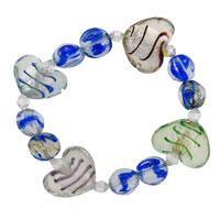 Handmade Murano Glass Blue And Heart Charm Bracelet