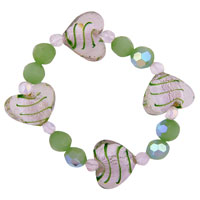 Heart Green Gift Bead Bracelets Murano Glass