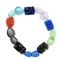 Heart Millefiori Multi Color Scoop Murano Glass Bracelet