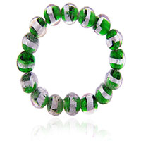 Round Pink And Green Beads Murano Glass Bracelet