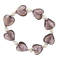 Grey Heart Ideas Bead Murano Glass Bracelet