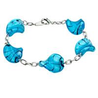 Handmade Blue Helix Murano Glass Bracelet