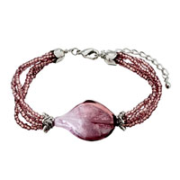 Deep Purple Helix Classic Murano Glass Bracelet