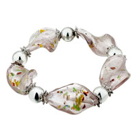 Pale Purple Helix Pattern Classic Murano Glass Bracelet