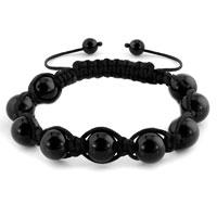 Black Shamballa Bracelets Agate Adjustable Murano Glass Bracelet