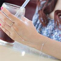 Chain Linked Finger Ring Bangle Cuff Bracelet