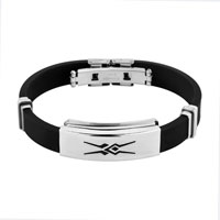 Men Bangle Bracelet Cuff Stainless Steel Black Silicone Rubber