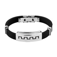 New Simple Stainless Steel Bangle Bracelet Cuff Men Black Silicone Rubber