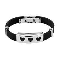 Stainless Steel Bangle Bracelet Heart Cuff Men Black Silicone Rubber