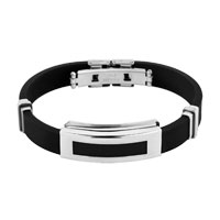 Simple Stainless Steel Bangle Bracelet Men Black Silicone Rubber