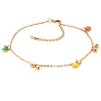 Lovely 18 K Gold Plated Dangle Clear Crystal Anklet Adjustable Bracelet