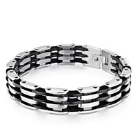 Punk Men S Bracelet Linked 3 Row Black Rubber Wave