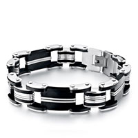 10 Links Linked Rubber Rectangle Men S Bracelet