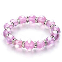 Evil Eyes Bracelets Glass Eye Beads Pink Swarovski Bracelet Women