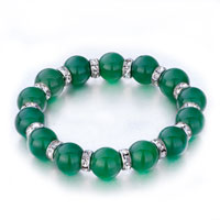 Evil Eyes Bracelets Murano Glass Evil Eye Beads Green Swarovski Elements Crystal Stretch Bracelet