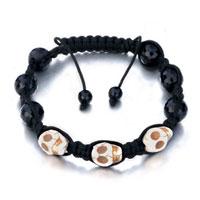 White Shamballa Bracelet Halloween Skull Black Beads Adjustable