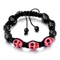 Pink Shamballa Bracelet Halloween Skull Black Beads On Cotton Rope