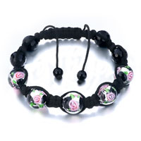 Shamballa Bracelet Black Pink Flower Beads On Cotton Rope