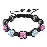 Shambhala Bracelet Rose Crystal Aurore Boreale Disco Ball