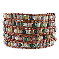 Green Stone Brown Leather Wrap Bracelet Metal Button Adjustable Chip