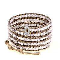 White Bead On Brown Leather Turquoise Wrap Bracelet Snap Button Lock
