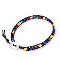 Multi Color Shamballa Wrist Chain On Black Leather Wrap Bracelet