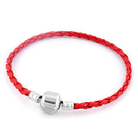 Light Red Wrist Chain Cape Cod Bracets Braided Leather Cord Bracelet