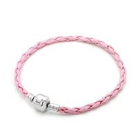 Rose Pink Leather Wrist Chain Cape Cod Bracets Beads Charms Bracelets Fit All Brands