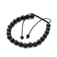 Pure Black Beaded Adjustable Bracelet For Man
