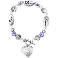 Love Mother Forever Rose Flower Purple Crystal White Pearl Beads Charms Bracelets Fit All Brands