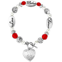 Love Mother Forever Rose Flowers Pearls Heart Toggle Clasp Beads Charms Bracelets Fit All Brands
