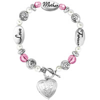 Love Mother Lockets Forever Rose Pink Crystal Toggle Clasp Beads Charms Bracelets Fit All Brands