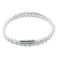 Simple Double Strands Gray White Leather Beads Charms Bracelets Fit All Brands